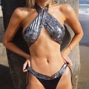Yandy Silver Black Wrap Bikini Swim Suit S
